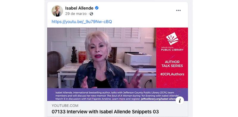 Facebook de la escritora Isabel Allende